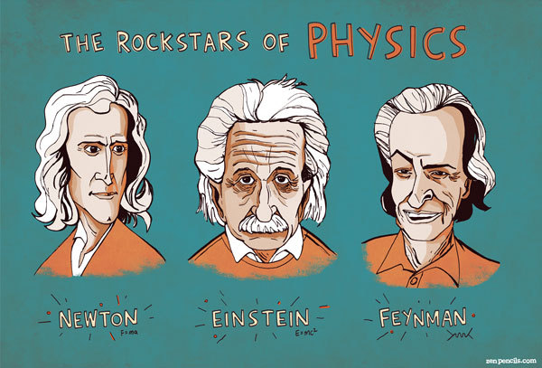 "decaturjim:  Rock stars of physics You may have seen the recent Phil Plait comic by Zen Pencils, based on a speech he gave at a science fair. If you haven't, go take a look - it's excellent. Based on this comic you can now purchase a single print titled, ""Rock stars of physics"" with caricatures of the three big-guns of physics: Isaac Newton, Albert Einstein, and Richard Feynman. I'm worried that I'm going to run out of wall-space soon."