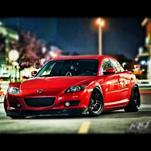 #mazda #RX #8 #red #black #rims #flushed #dope #import #JDM #jj_forum #city #lights #night #life (Taken with Instagram)