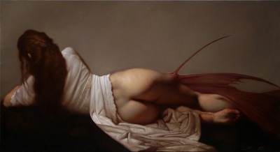 mariadahvanaheadley:  -Roberto Ferri, Naiade, oil painting  Roberto Ferri, Tristezze della Luna, Oil Painting  At first glance, I thought these were paintings by some strangely obscure Renaissance Painter I'd weirdly, very weirdly never heard of. And then I discovered that Roberto Ferri was born in Italy in 1978. This sort of work (modern version) isn't always my thing. I often find paintings of mythic subjects to be entirely too romantic, but these are not. The bodies are real bodies with strange elements, painted as though Caravaggio were at the brush. They're almost photographic, but the light is more beautiful than real light.   - Roberto Ferri, Fascilus Descensus Averno, oil painting That's the fantastical element of the great Renaissance painters, to my eye, anyway - the sun shining, the candles lighting the room, emit a light that has no relevance to reality. This light makes every normal - albeit beautiful - body look as though it was made inside an oyster. And all the nudes have dirty feet and callouses, angels who've spent time walking. I have a soft spot for that.   La Musa Unquieta