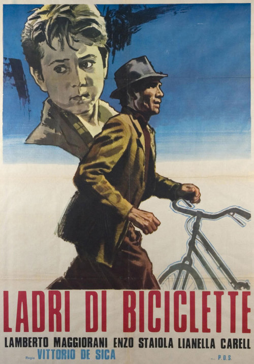 Bicycle Thieves (1948) Director: Vittorio De Sica Writers: Cesare Zavattini, Suso D'Amico, Vittorio De Sica, Oreste Biancoli, Adolfo Franci, & Gerardo Guerrieri (Based on a novel by Luigi Bartolini) Very good!  Simple but effective.  Surprised at the amount of credited writers.  Pee Wee's Big Adventure was definitely inspired by this right?