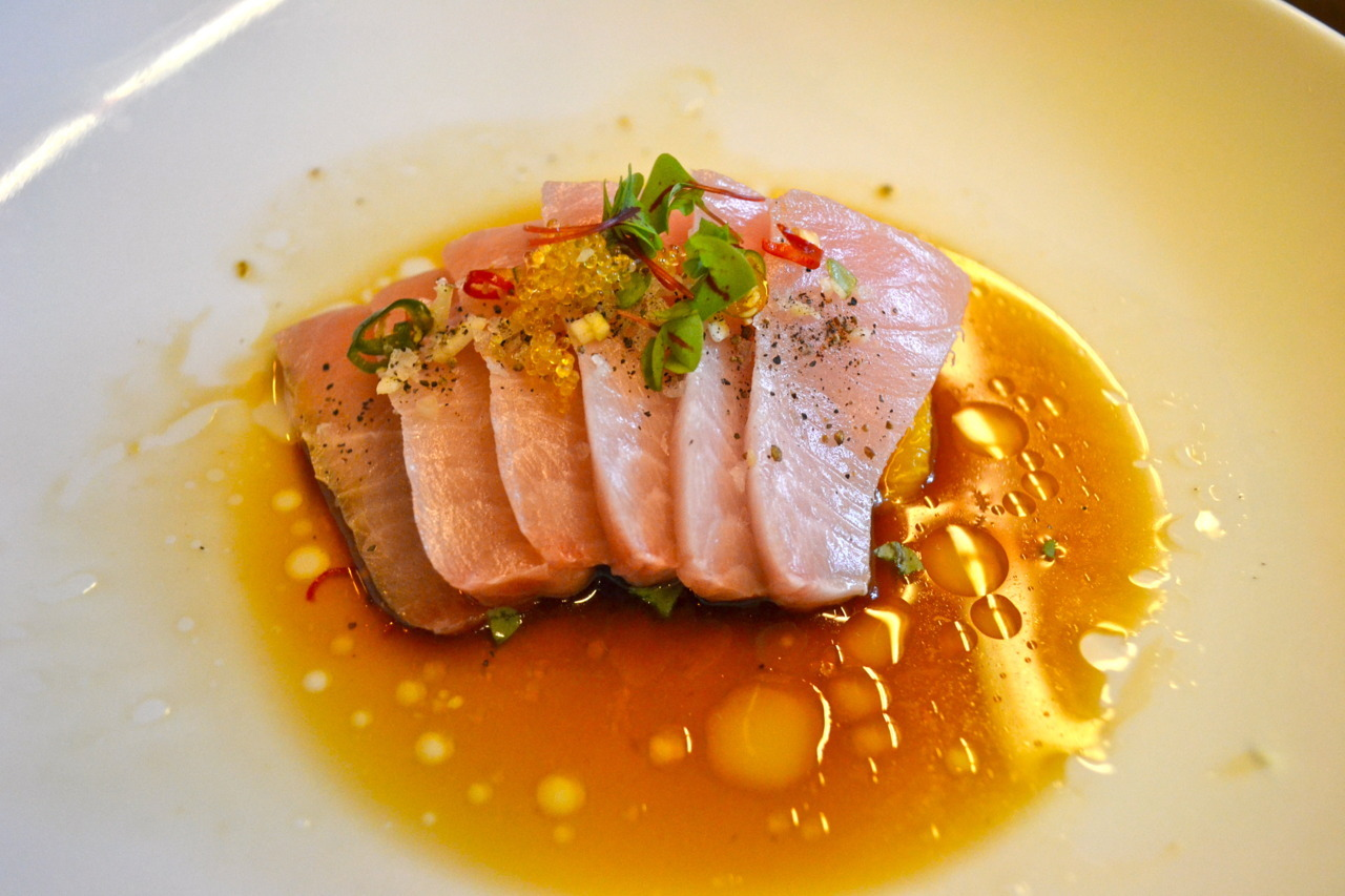 Uchiko Hama Chili: yellowtail sashimi / sliced thai chili / orange supremes