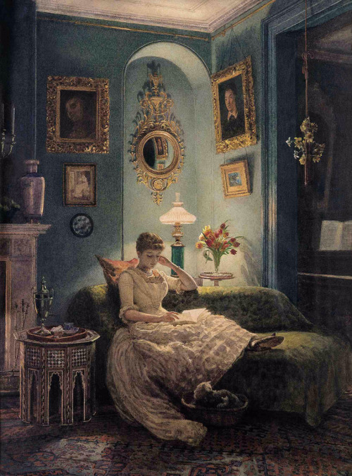 books0977:  An Evening at Home (1888). Sir Edward John Poynter (English, 1836–1919). Watercolour. The relaxed informal domesticity would suggest that the woman depicted is almost certainly the artist's wife Agnes, but she also bears a striking resemblance to Georgina Burne-Jones (Agnes' sister). Two Old Master Portraits in deep carved, gilt, Florentine frames reflect his lifelong admiration for Renaissance Art. Below them hangs a Pre-Raphaelite watercolour in a black and gilt aesthetic frame and another picture in a fine Watts pattern frame.  all day every day