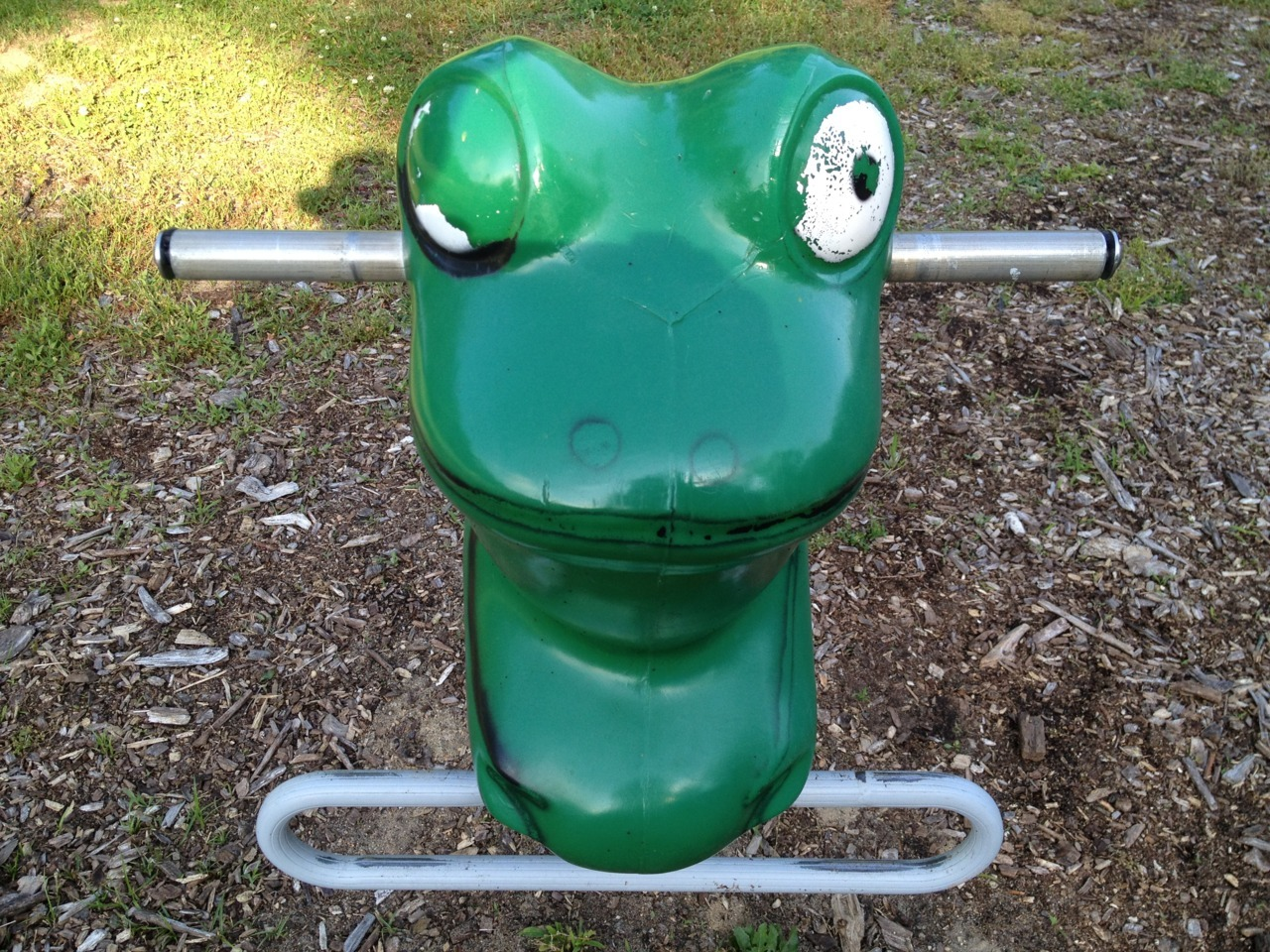 """Back-the-fuck-off or ride at your own peril, Pilgrim!!"" — Playground Froggie —BPphoto, East Marion NY"