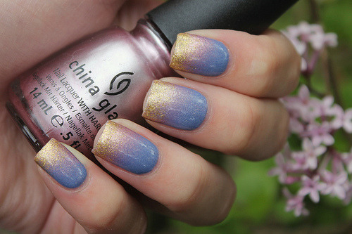 Try an ombre nail design in pale colours.