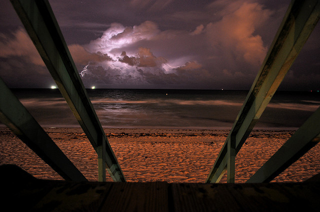 Beach Lightning 2 by ebenhazard on Flickr.