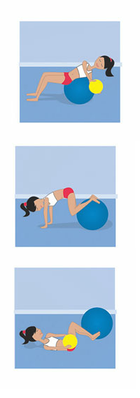 wakeuphealthy:  Try these oblique-targeting exercises to lose your love handles and whittle your waist. Target Your Obliques Target your obliques by using a stability and medicine ball, says Dana Cahill, personal training director at Sky Athletic Club in Rockville Centre, New York. Work up to three sets of 10. Beginner: Stability-Ball Twist Lie back on a stability ball with your feet on the floor. Hold a medicine ball at chestlevel and extend arms. Keeping your butt on the ball, slowly rotate your torso to the left until your knuckles are pointing to the wall. Return to center and repeat on the other side.  Intermediate: Roll and Curl   Begin in a full push-up position with tops of your feet resting on a stability ball, hands on floor shoulder-width apart. Keeping your abs and glutes tight, bend your knees to roll ball in toward right side of chest. Extend your legs to roll ball back to start; repeat to the left. Advanced: Medicine-Ball Twist Lie faceup on floor holding a medicine ball in both hands overhead, knees bent 90 degrees, feet on floor. Crunch up, twisting shoulders to the right while bringing ball to right side of thighs; at the same time, bring knees toward the left. Return to start and switch sides. http://www.fitnessmagazine.com/workout/abs/exercises/lose-your-love-handles-in-3-moves/ Follow me on Underarmour's What's Beautiful: http://whatsbeautiful.ua.com/profile/9864