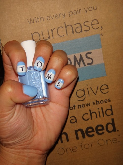 "Inspired by Toms Shoes using Essie's Bikini So Teeny.""With every pair you purchase, Toms will give a pair of new shoes to a child in need.  One for One""  Enjoy! :)"