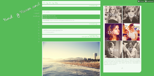 Theme Four || Like if using. 6 sidebar images, maximum widths is 150* Description should remain short and to the point so all images fit and still look good For images to look properly placed, you must have SIX images 8 custom links Tilted sidebanner *see her for icons / possible gifs for your sidebar preview / code / help