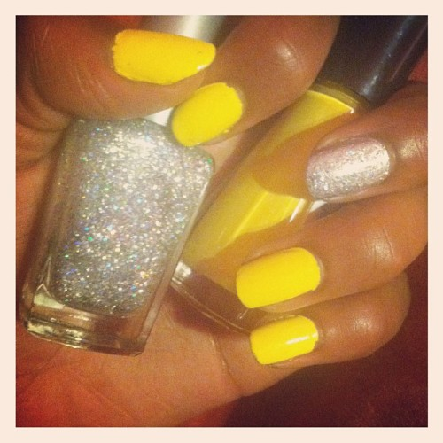 Yellow & silver for now 😍💅 (Taken with Instagram)