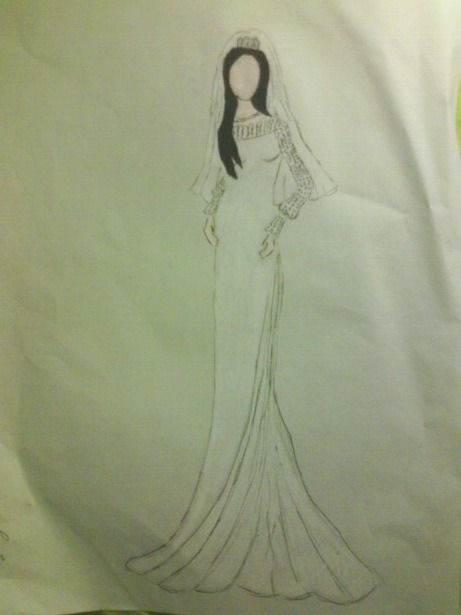 My sister Chloe did this sketch of Priscilla Presley's wedding attire for me. If I ever get married, I'm going to have my sister design my dress and look just like Priscilla did! She is very talented!