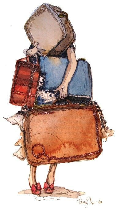 thepreppyyogini:  Adorable illustration! My bags are packed…and I'm ready to go. :)