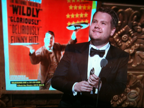Congratulations, James Corden! Tony Award Winner for Best Leading Actor in a Play for his performance in One Man, Two Guvnors! James Corden, AKA our beloved Craig Owens, beat out incredible competition- James Earl Jones, Phillip Seymour Hoffman, Frank Langella and John Lithgow- with his amazing performance. Whovians everywhere salute you!