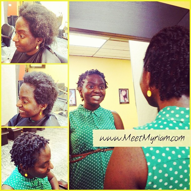 Congrats to Stephanie on her big chop! Have fun with your twist! You look beautiful #naturalhair #meetmyriam.com #i❤whatIdo (Taken with Instagram)