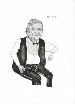 serenadominguez:  This is a portrait of Bob Milne. I made it after listening to a story about him on Radiolab. He can listen to 4 symphonies simultaneously in his head!