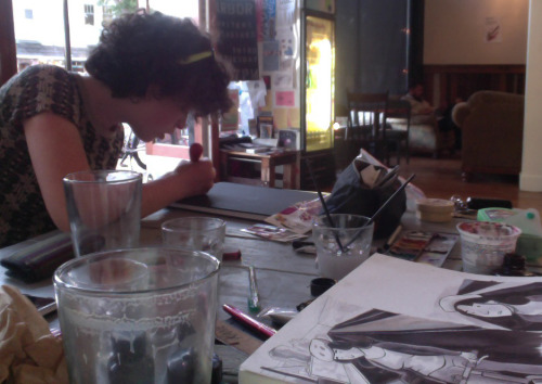 Drawing comics and making stamps at the ole cafe.