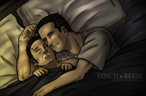 Finch & Reese on the bed~! (Sorry for smaller drawing, it was just for practice… >.<')