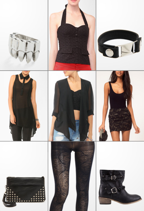 Claw Ring :: Eyelet Peplum Bustier :: Silver Pyramid Bracelet Sheer Cutout Collar Dress :: Draped Shawl Collar Cardi :: Lace Mini Skirt Studded Clutch :: Dark Blue Lace Tights :: Bucco Boots