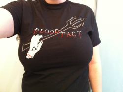 Day 133: Alkaline Trio, Blood Pact.  I got this shirt because I spent money to be in a fan club for the band Alkaline Trio. This was probably in 2006? I also got a plastic membership card, and some other junk I lost or forgot about. Oh man I am so glad I spent my hard earned money on this shirt, and a plastic membership card, and some other stuff I totally needed for 10 minutes and then totally forgot about. I totally have way too many alkaline trio shirts, so I guess this was just another one I had to have. I think it might say alkaline trio on the back, but I don't remember now, because I am really behind on posting these shirts.  I was disappointed to find out that my blood pact membership wasn't lifelong and expired after a year. I wised up and didn't spend more money so I could buy more exclusive stuff I didn't need. I am getting better with age (mostly.)