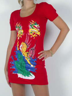 Ed Hardy Dress Decorated with Swarowski Crystals  for Women-RedMore photos & another fashion brands: bit.ly/KyblR5