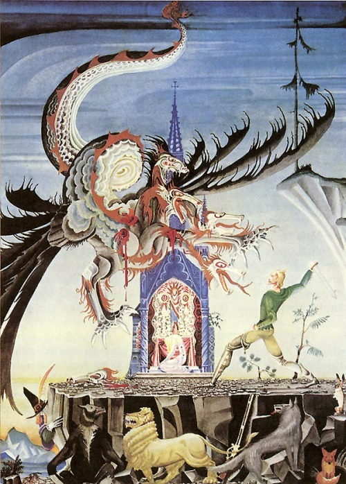 "tarotdevil:  This is rad. aenorlemusae:  The Two Brothers - Kay Nielsen, from Grimm's Fairy Tales: The seven-headed dragon came and breathed fire, setting all the grass ablaze…  The huntsman said nothing more to this, but next morning took his animals, and with them ascended the dragon's hill. A little church stood at the top of it, and on the altar three full cups were standing, with the inscription, ""Whosoever empties the cups will become the strongest man on earth, and will be able to wield the sword which is buried before the threshold of the door."" The huntsman did not drink, but went out and sought for the sword in the ground, but was unable to move it from its place. Then he went in and emptied the cups, and now he was strong enough to take up the sword, and his hand could quite easily wield it… …Said the dragon, ""Many knights have left their lives here, I shall soon have made an end of thee too,"" and he breathed fire out of seven jaws. The fire was to have lighted the dry grass, and the huntsman was to have been suffocated in the heat and smoke, but the animals came running up and trampled out the fire. Then the dragon rushed upon the huntsman, but he swung his sword until it sang through the air, and struck off three of his heads. (The Two Brothers, Children's and Household Tales, Jacob and Wilhelm Grimm)"