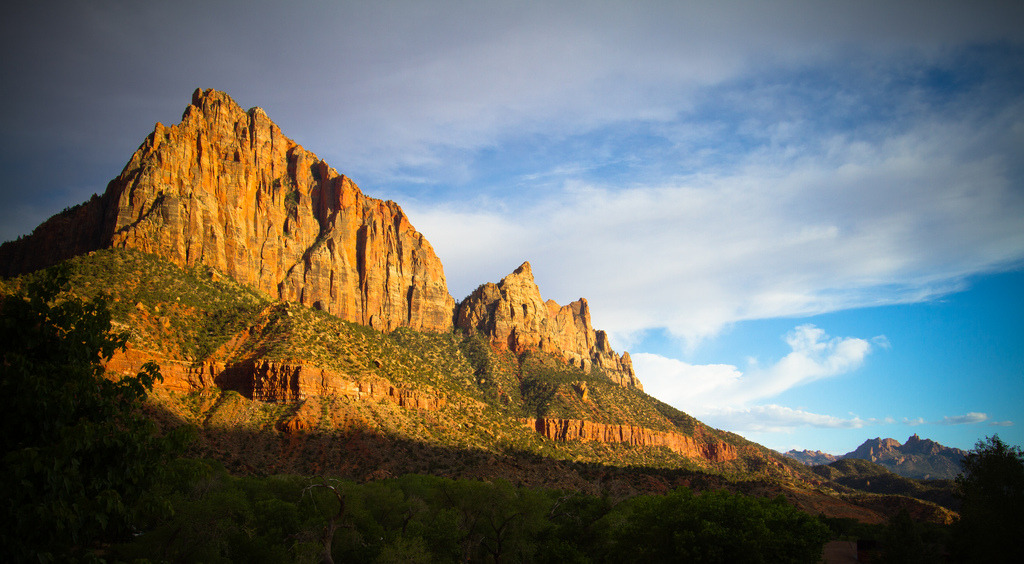 sun setting on the Watchman, from Zion-mount Carmel freeway