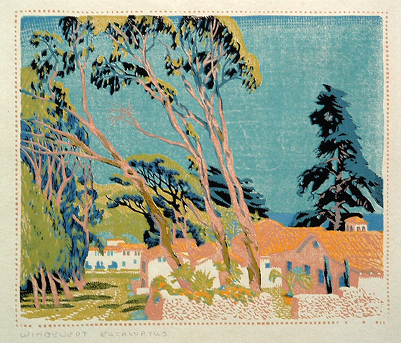 [+] Windswept Eucalyptus   Artist  Gustave Baumann   1881 - 1971 Year 1928   Technique color woodcut