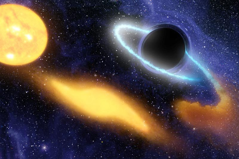 ikenbot:  Cosmic Climate Change May Have Stunted Black Holes  Illustration: This artist's concept shows a supermassive black hole at the center of a remote galaxy digesting the remnants of a star. Image credit: NASA/JPL-Caltech  A waming of the early universe caused by the greediest of black holes could have stunted the growth of the rest.  Astronomical surveys suggest that supermassive black holes weighing a billion times more than the sun had formed before the universe was a billion years old. The seeds for these behemoths are thought to be black holes weighing just a few tens of solar masses. To get so big in less than a billion years, the seed black holes must have sucked in gas at a colossal rate.  In this scenario, you would expect to see a distribution of black hole masses, with intermediate-sized black holes (those between 105 and 107 solar masses) in numbers orders of magnitude greater than what we see in our local universe. Something must have limited the growth of these black holes. Now Takamitsu Tanaka at the Max Planck Institute for Astrophysics in Garching, Germany, and colleagues have a climate-based explanation.  They show that a prodigious amount of X-rays emitted as the supermassive black holes gulped gas would have heated up the universe. Black holes need cool gas to grow so this would have slowed down the growth of other black holes in smaller protogalaxies, even as the growth of black holes in the most massive protogalaxies continued apace (arxiv.org/abs/1205.6467v1).