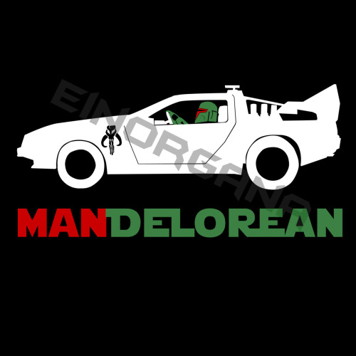 A Mandalorian in a DeLorean… MANDELOREAN