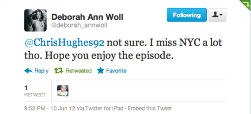 Jessica (Deborah Ann Woll) from TrueBlood tweeted me back! So excited! Us fellow irish/Brooklynites need to stick together! =)