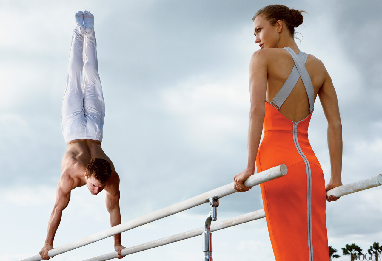 Olympic Gymnast Jonathan Horton Photographed with Model Karlie Kloss by Annie Leibovitz for the June Issue of Vogue