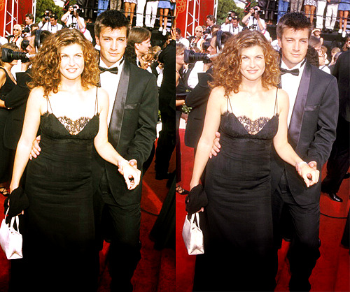 Nathan Fillion and Connie Britton at the 1997 Emmy Awards