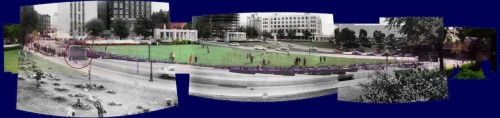 What I've posted here is the brilliant work of John Costella. This panorama photo, not only recreates what we see in the Zapruder film from the Zapruder pedestal, it also beautifully synchronizes with how we see the plaza today, this is in fact the true test of authenticity.  John Costella spent years working his magic on the Zapruder images. He was able to remove all pincushion distortion and barrel distortion from the Zapruder footage.  Both of those visual effects are used to give the different optical illusions. When removing these effects, he discovered the proportions and angles of the freeway sign are wrong.  This is because, the distortions were edited into the film before the sign was superimposed onto the footage.  To understand how this was done, I encourage everyone to watch John Costella's presentation.  http://www.youtube.com/watch?v=3Y6RaDmG0hs&feature=plcp This guy has the knowledge and the evidence to back up what he says. His presentation proves that the Zapruder film breaks the laws of physics and is after all a hoax.
