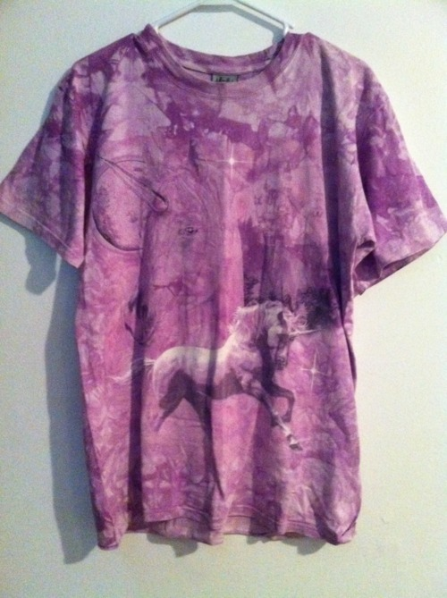What Would Osha Wear? A purple unicorn tie-dye shirt.   wastedacid:  some stuff you should see xxxx