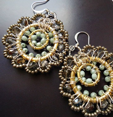 Colorful Beaded Hoop Earrings with silver grey by BohemiaJewellery on We Heart It. http://weheartit.com/entry/15948612