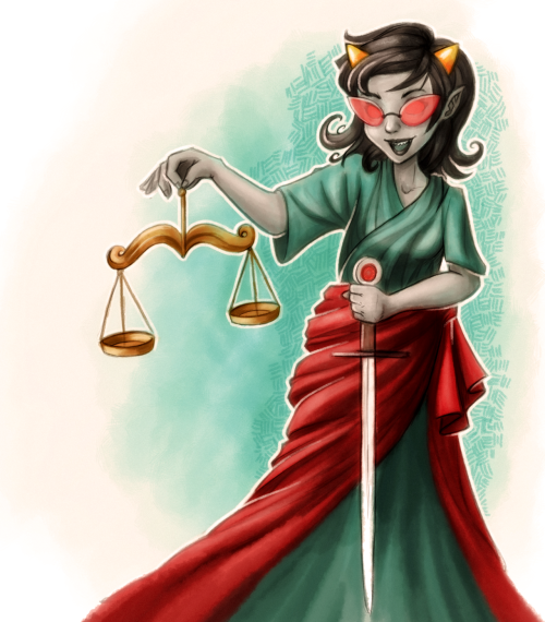 taraledoodles:  Terezi Pyrope as Lady Justice. Terezi belongs to Andrew Hussie and she is from Homestuck.