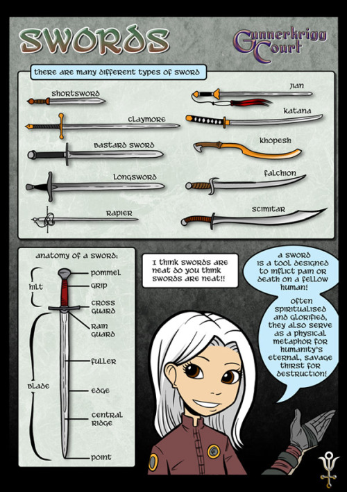 art-of-swords:   A sword is a tool designed to inflict pain or death on a fellow human. Often spiritualised and glorified, they also serve as a physical metaphor for humanity's eternal, savage thirst for destruction.  n00b's guide to swords. :)