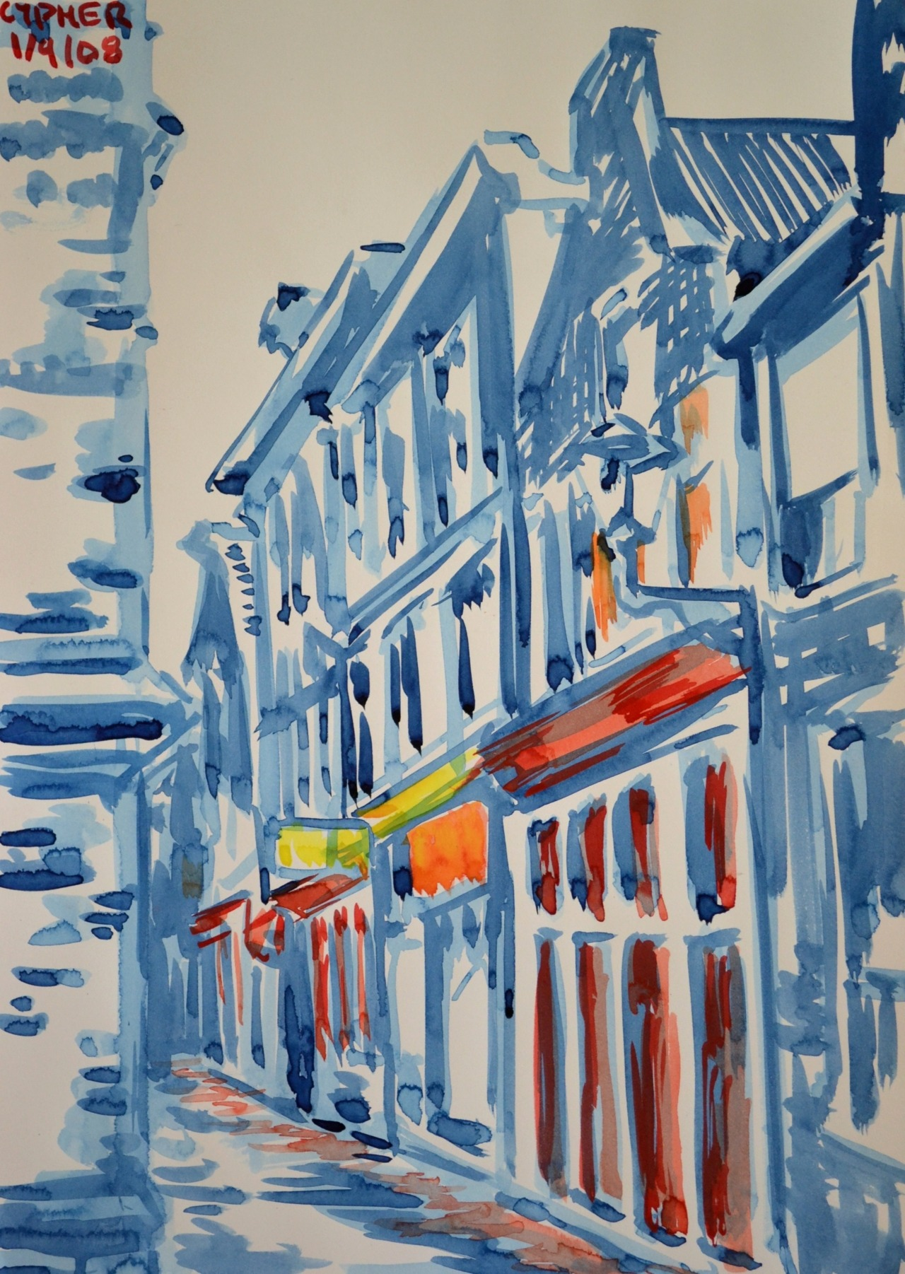 "David Murphy, Amsterdam Red Light District No. 1, 2008, 20"" x 14"", Watercolour on Arches 140lb Watercolour Paper. www.davidbrendanmurphy.com"