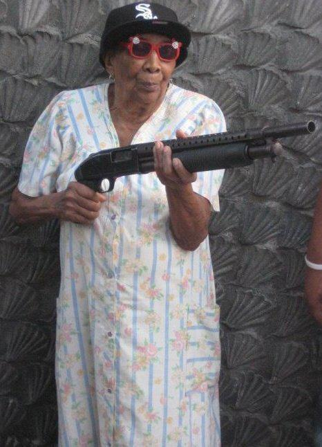 you know you in the hood when even granny is one of the goons