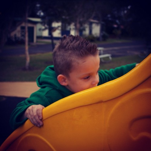 My Liam aka little daddy :) #canon #550d #ballina #holiday #slide #playground  (Taken with Instagram)