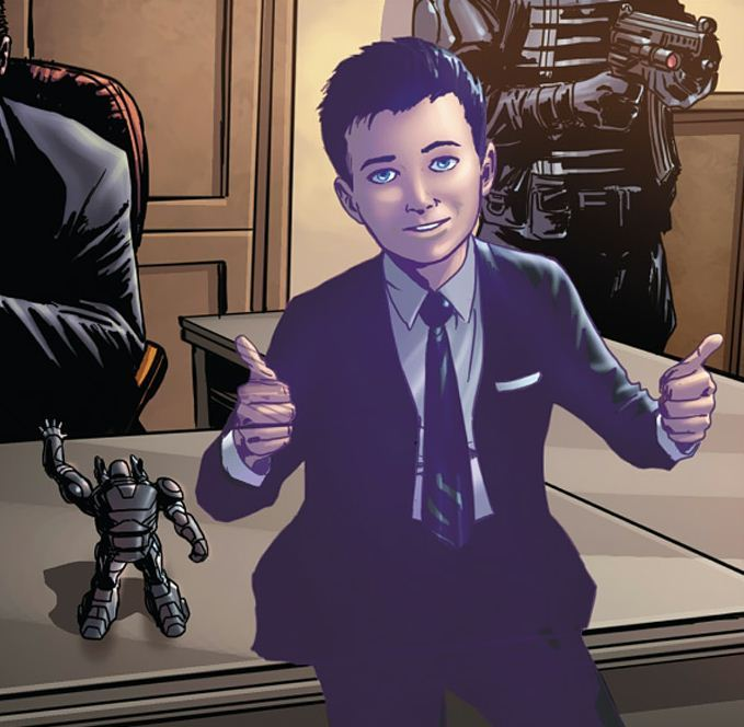 ironfries:  vengerturtle:  So, in Ultimates, Tony's brain tumor is back and he's been hallucinating a child version of himself who carries around a toy robot. Baby Tony is pretty cute.  BABY