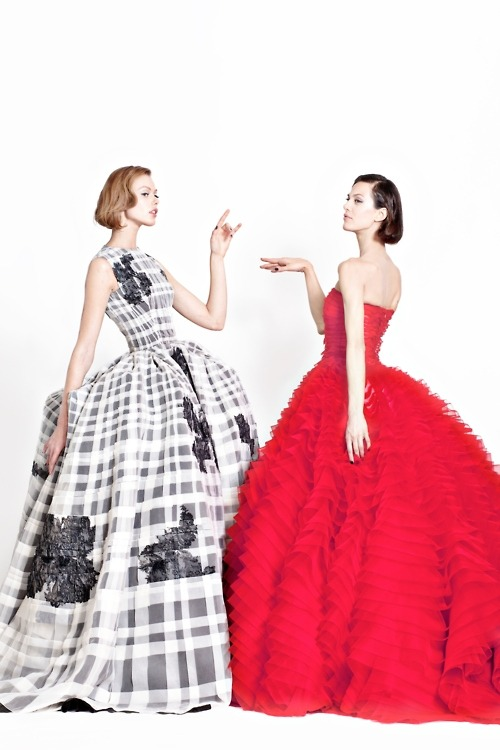 Frida Gustavsson and Aymeline Valade in Dior Couture Spring 2012 photographed by Angelo Pennetta
