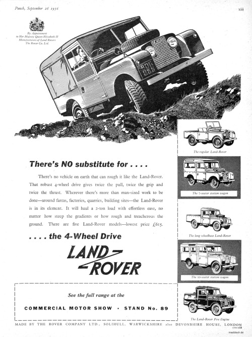 spacequest:  Vintage Land Rover ad, 1950s