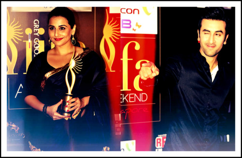webollyit:  The IIFA Awards 2012 winners' list: - Best Film: Zindagi Na Milegi Dobara - Best Direction: Zoya Akhtar – Zindagi Na Milege Dobara - Best Story: Zoya Akhtar and Reema Katgi – Zindagi Na Milegi Dobara - Best Performance In Leading Role (Male): Ranbir Kapoor – Rockstar - Best Performance In A Leading Role (Female): Vidya Balan – The Dirty Picture - Best Supporting Actor (Male): Farhan Akhtar – Zindagi Na Milegi Dobara - Best Supporting Actor (Female): Parineeti Chopra – Ladies vs Ricky Bahl - Best Debut (Male): Vidyut Jamwal – Force - Best Debut (Female): Parineeti Chopra – Ladies vs Ricky Bahl - Best Performance In A Negative Role: Prakash Raj – Singham - Best Performance In A Comic Role: Riteish Deshmukh – Double Dhamaal - Outstanding Achievement in Indian Cinema: Rekha - Outstanding Achievement in Indian Cinema: Ramesh Sippy - Best Music Direction: AR Rahman – Rockstar - Best Playback Singer (Male) – Mohit Chauhan for Nadaan parindey – Rockstar - Best Playback Singer (Female) – Shreya Ghosal for Teri meri – Bodyguard - Best Lyrics: Irshad Kamil for Nadaan parindey – Rockstar - Best Choreography: Bosco Caesar for Senorita – Zindagi Na Milegi Dobara - Best Dialogue: Rajat Aroraa – The Dirty Picture - Hottest Pair: Ranbir Kapoor and Nargis Fakhri in Rockstar - IIFA 2012 Green Award: Dia Mirza - Best Action: Jai Singh Nijjar – Singham - Best Special Effects: Red Chillies VFX – RA.One - Best Cinematography: Carlos Catalan for Zindagi Na Milegi Dobara - Best Costume Design: Niharika Khan – The Dirty Picture - Best Editing: Anand Subaya – Zindagi Na Milegi Dobara - Best Makeup: Vikram Gaikwad – The Dirty Picture - Best Production Design: Sabu Cyril – RA.One - Best Sound Re-Recording: Anuj Mathur and Baylon Fonseca – Zindagi Na Milegi Dobara - Best Sound Recording: Resul Pookutty and Amrit Pritam Dutta – RA.One.