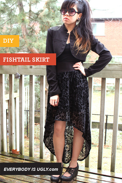 Fish Tail Skirt | Syl & Sam I have a maxi dress who's pattern I love, but the style… eh. After a couple of washes it lost it's shape and became a shapeless blob. I was planning on cutting it in half and making the bottom into a maxi skirt and the top into a… top. But now I've seen this DIY I think I might make the bottom into a fish tail skirt! I've always liked the style (though my sister calls them 'mullet skirts') but can't find one in the pattern or size I like!
