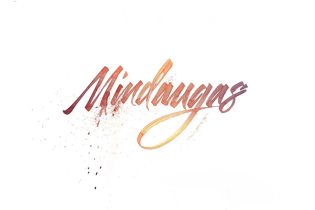 "Calligraphi.ca - Mindaugas (name of my friend from Lithuania) - Cola-pen on paper with the addition of color in Photoshop. By Alexander ""Kinessisk"" Kontarev"