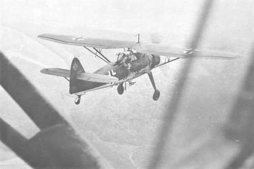 Henschel Hs-126 in flight on photo-reconnaissance