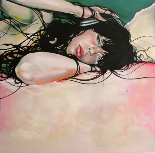 artchipel:  Martine Johanna -Drift. Acrylics & medium on 3d frame canvas, 100x100cm (2008)