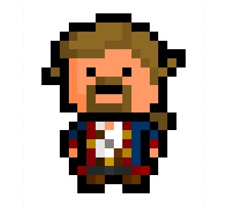 "Guybrush Ulysses Threepwood, mighty pirate and star of the legendary ""Monkey Island"" adventure series, now rendered in a tiny 16 x 20 pixel format based on his costume in ""Monkey Island 2 : Lechuck's Revenge"".  One of gaming history's greatest characters, and he doesn't even shoot people.   Requested by:  http://iszuka.tumblr.com/"