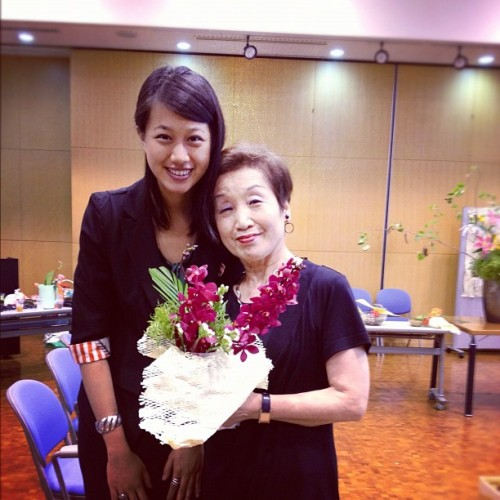 With my ikebana instructor and my flower arrangement this afternoon at the Japanese Embassy (Taken with Instagram)