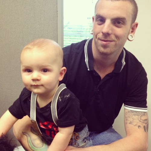 My boys. #boys #husband #baby #braces #transformers #punk #skinhead  (Taken with Instagram)